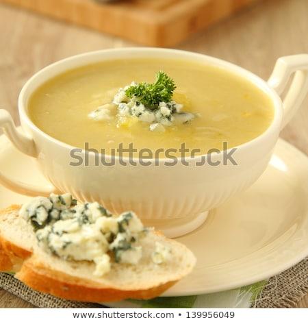 taze · vejetaryen · çorba · beyaz · çanak · mavi - stok fotoğraf © melnyk