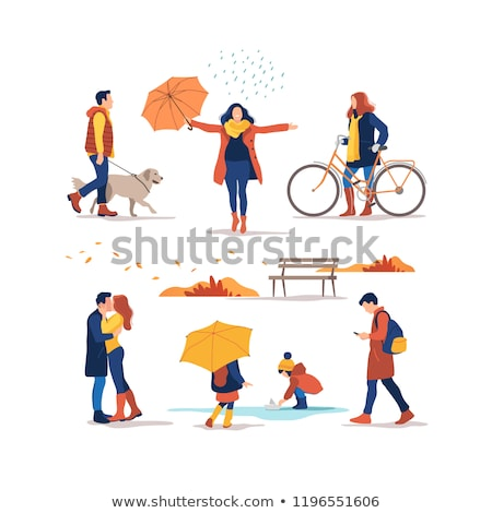 男 女性 徒歩 屋外 週末 ベクトル ストックフォト © robuart