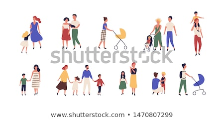 Man and Woman Walking with Pram, Parents Vector Stock photo © robuart