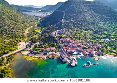 Mali Ston waterfront and historic walls aerial view Stock photo © xbrchx