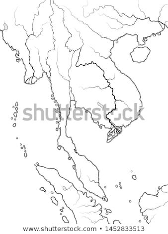 World Map of INDOCHINA: Indochinese Peninsula, Thailand, Vietnam, Laos, Malaysia, Cambodja. Chart. Stock photo © Glasaigh