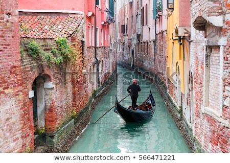 Kanal Venedik yakışıklı gondol sokak İtalya Stok fotoğraf © Givaga