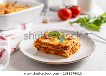 Lazanya peynir akşam yemeği makarna et salata Stok fotoğraf © fanfo