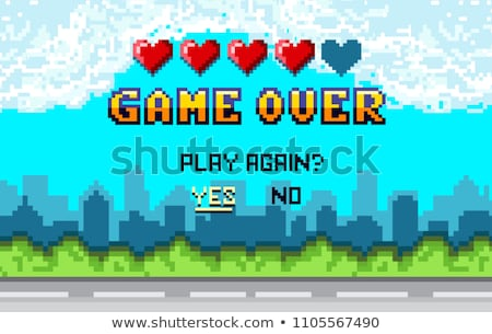 Finish of Pixel Game, Play Again, Final Vector Stock photo © robuart