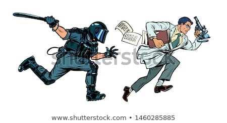 the government is against science. riot police with a baton Stock photo © studiostoks