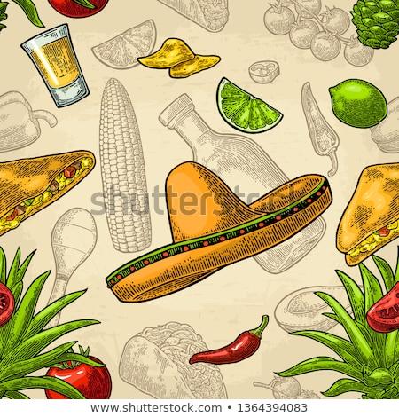 cartoon · bazgroły · kuchnia · meksykańska · line · sztuki - zdjęcia stock © netkov1
