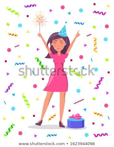 Vrouw sterretje confetti geschenkdoos achtergrond vieren Stockfoto © robuart