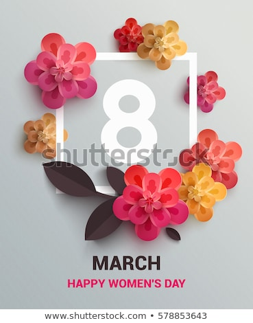 Womens Day on 8 of March Greeting Card with Girl Stock photo © robuart