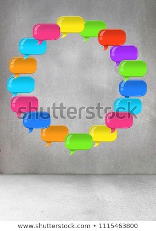 Brilhante conversar bolha flutuante quarto composição digital feliz Foto stock © wavebreak_media