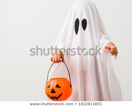 Kicsi gyerek szellem jelmez boldog halloween Stock fotó © choreograph