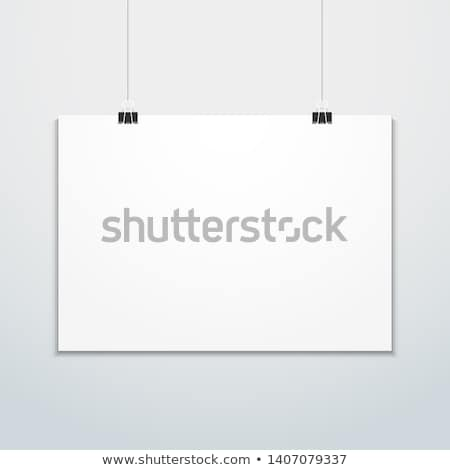 horizontal poster clips suspended mockup