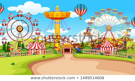 lunapark · sirk · yeşil · ot · mavi · gökyüzü · komik · örnek - stok fotoğraf © bluering