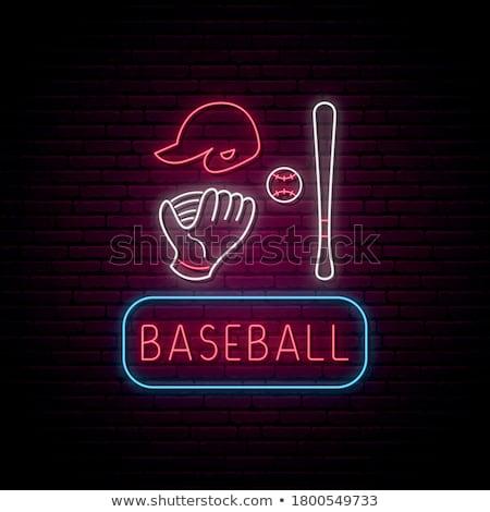 Beysbol sopası neon spor tanıtım ev spor Stok fotoğraf © Anna_leni