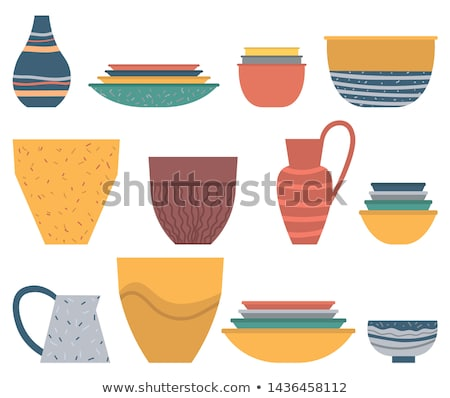 Rustic or Homemade Dishware, Plate and Bowl Vector Stock photo © robuart