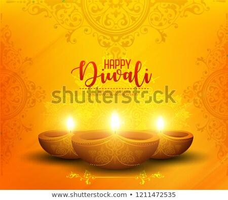 yellow diwali background with creative diya decoration Stock photo © SArts