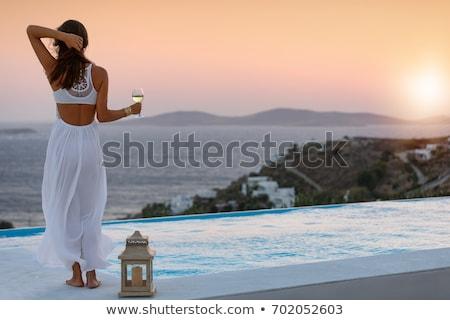 Gelukkig vrouw genieten zon oneindigheid rand Stockfoto © dolgachov