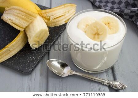 Plátano yogurt leche fresa comer cuchara Foto stock © tycoon