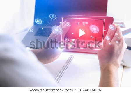Hand using smartphone with cloud business concept Stock photo © ra2studio
