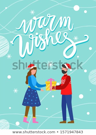 Couple with Present, Warm Wishes Postcard Vector Stock photo © robuart