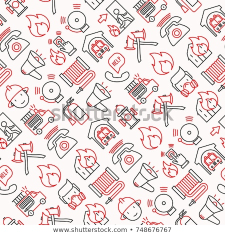 Firefighter Equipment Seamless Pattern Vector Stock photo © pikepicture
