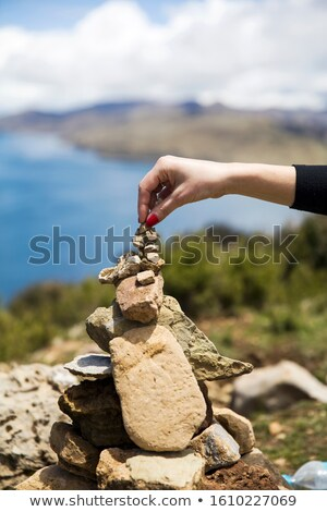 Stone stacking at Isla del Sol on Titicaca lake Stock photo © boggy