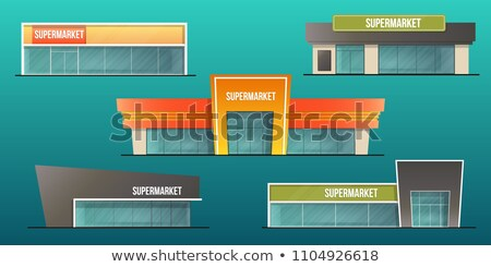 Supermarket Exterior and Set of Shopping People Stock photo © robuart