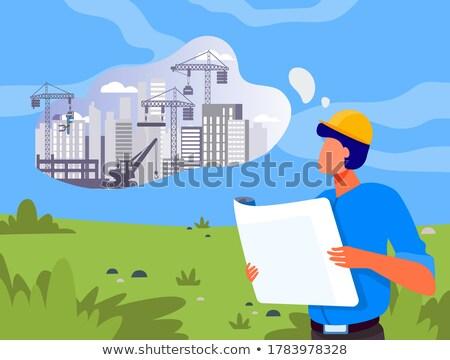 blauwdruk · bouwer · handen · bouw - stockfoto © pressmaster