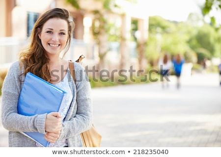 Portret kobiet student odkryty kampus uśmiech Zdjęcia stock © Lopolo