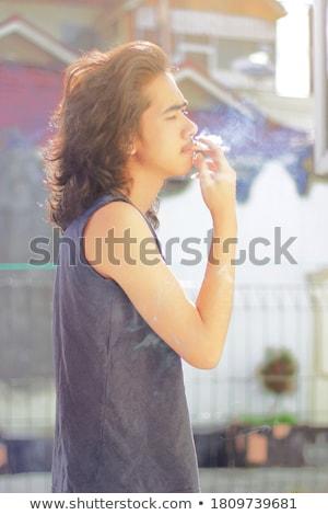тощий парень сигарету курение Cartoon человека Сток-фото © ayaxmr