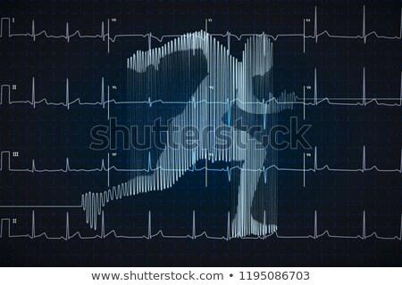 Fényes kék emberi elektrokardiogram fut forma Stock fotó © evgeny89