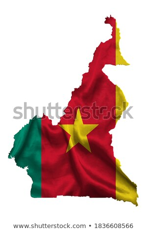 Cameroon country silhouette with flag on background, isolated on white Stock photo © evgeny89
