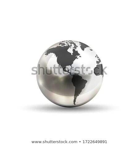 現実的な メタリック 地球 世界中 アイコン アメリカン ストックフォト © evgeny89