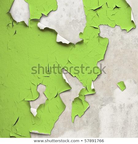 Parede verde pintar rachaduras velho casa Foto stock © boggy