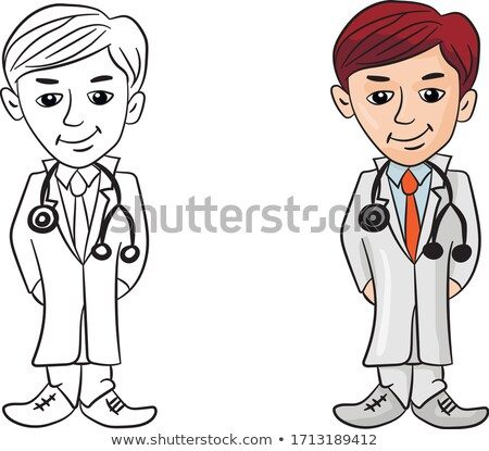 young smiling scientist in cartoon type isolated on white   vector illustration stock photo © arzawen