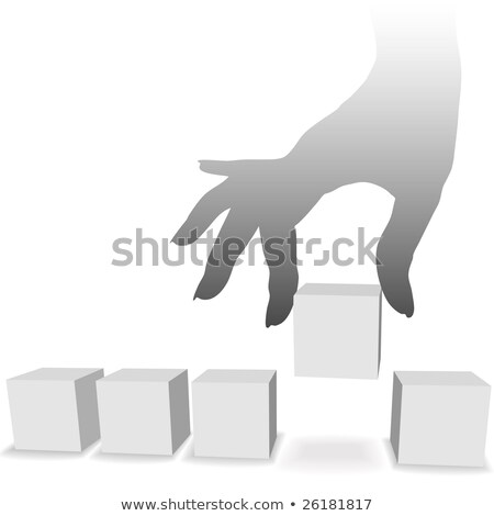 female hand picks up a box from a row of boxes stock photo © inxti