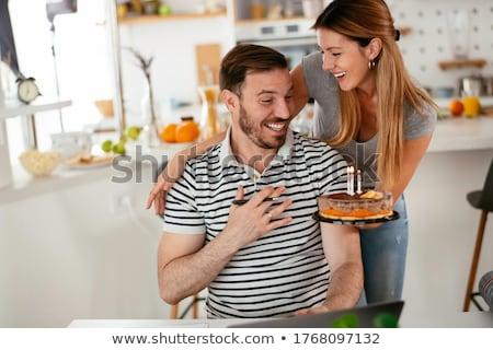 man celebrating girlfriends birthday stock photo © photography33