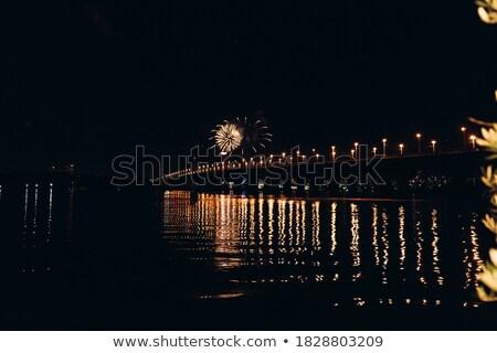 花火 鉄道 赤 黒 空 橋 ストックフォト © dsmsoft