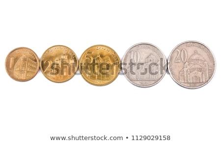 moedas · um · branco · pergunta · forma · metal - foto stock © simply