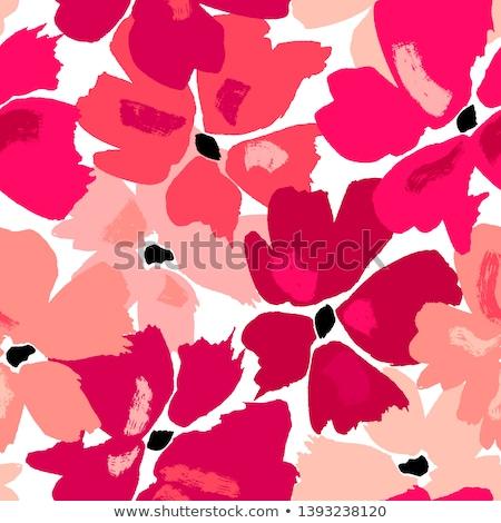 Wiederholung · floral · Muster · weiß · braun - stock foto © elak