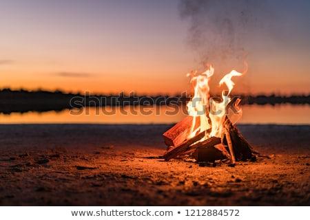 tengerpart · tábortűz · alkonyat · óceán · narancs · homok - stock fotó © smithore