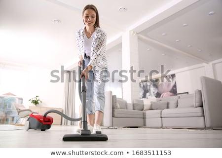 Zdjęcia stock: Kobieta · odkurzacz · gry · gitara · odizolowany · biały