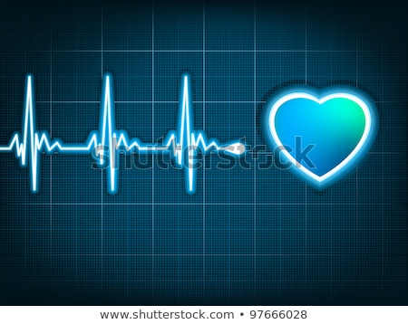 Stock photo: Heart cardiogram with shadow on deep blue. EPS 8