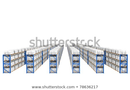 Shelves x 60. Top Perspective view. Part of a Blue Warehouse and logistics serie. Stock photo © JohanH