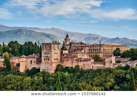 крепость · Альгамбра · Испания · дерево · саду · зеленый - Сток-фото © neirfy
