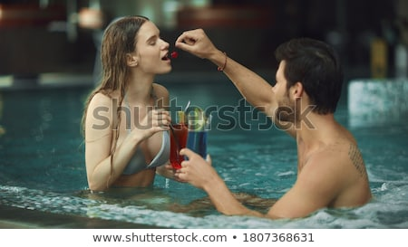 young woman has a rest with an alcoholic drink Stock photo © adam121