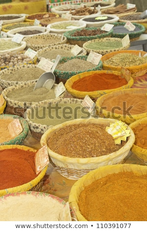 Various kinds of spices prepared to sell at a farmer's market. Stock photo © frank11