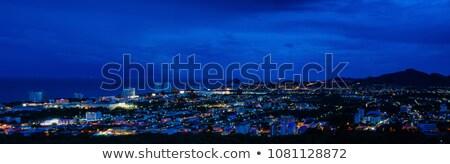 Nocturna de la ciudad paisaje luz casa luna noche Foto stock © hinnamsaisuy