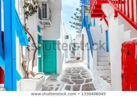 Varanda grego casa casa verão azul Foto stock © akarelias