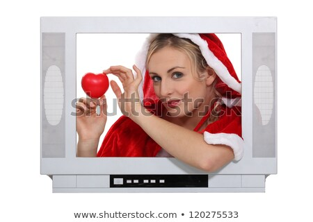 woman wearing a christmas costume behind a tv screen stock photo © photography33