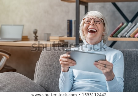 Stock fotó: Boldog · idős · nő · izolált · fehér · mosoly